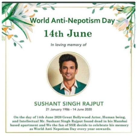 world anti nepotism day sushant singh rajput